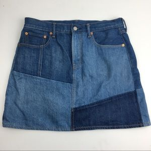 LEVIS colorblock jean skirt 31